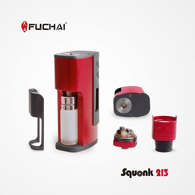 Fuchai Squonk 213 by Sigelei in red taken apart
